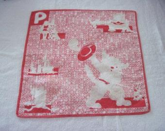 Vintage Children's Child's Cotton Hankie Handkerchief Puss In Boots Nursery Rhyme Story