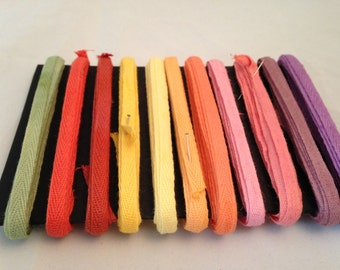 11 Colors 33 Yards Hand Dyed Pallet 1/4 inch Cotton Twill Tape edging for making spun cotton