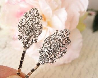 Victorian Filigree bobby pins-medieval-shabby chic-steampunk-Victorian V046