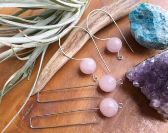 Modern Rose Quartz earrings, rose quartz wire drops, thin rose Quartz wire hoop earrings
