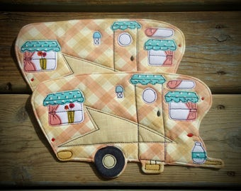 Camper Mug rug, set of 2, retro camper large coaster