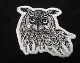 Large Embroidered Owl Patch, Iron On Owl Patch, Iron On Applique, Owl Patch, Embroidered Owl Patch