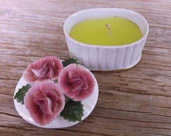 Vintage Porcelain Trinket Box/Candle  With Porcelain Flower Lid