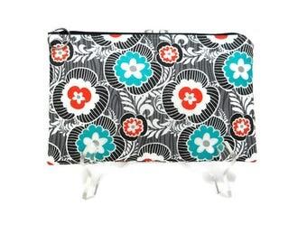 Floral Pouch, Zipper Pouch, Black, Gray, Orange and Teal, Gadget Case, Pencil Bag, Purse Pouch,Make Up Bag, 8.5 x 5.5 Pouch, E-cig Bag