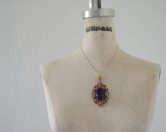 Vintage Victorian Hurren Sultan Medallion 34 Grams TURKISH Emerald Topaz Amethyst 925k Sterling Silver Necklace