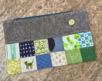 Patchwork Pouch, Pencil Pouch, Zippered Pouch, Scrappy Patchwork Pouch, Ready to Ship, Gift Idea, Graduation Gift