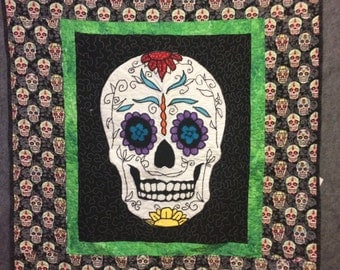 Sugar Skull Throw Quilt Ready For Christmas