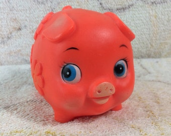 1980s Neon Hard Plastic Piggy Bank Orange Red Cute Bug Eyes Rubber