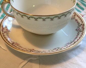 Vintage Mis Matched Pink Roses Tea Cup Set GDA Haviland Limoges Made in France #4092