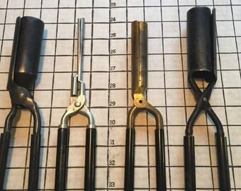 Vintage Antique Metal Curling Irons 4 Piece Set #4115