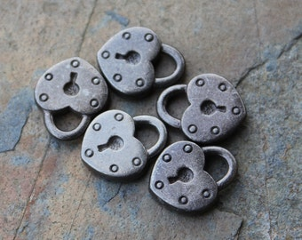Dark grey antiqued pewter heart lock charms pendants - made in the USA, lead and nickel free - by TierraCast