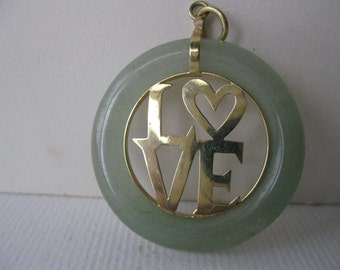 Authentic 10K Gold Love Jade Pendant