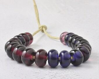 Lampwork Beads | Handmade Glass Spacer Beads | Berry Violet Lampwork Glass Bead Set | Artisan Glass | UK SRA