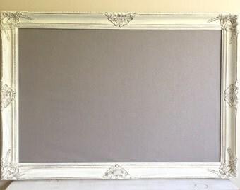 Gray Fabric MAGNET BOARD Farmhouse Decor Framed Cork Board Distressed White Whitewash Wood Memo Board Bulletin Board Home Office Organizer