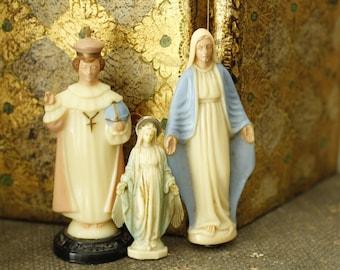 Vintage Collection of Catholic Figures, Vintage Religious Decor, Religious Madonna and Saint, Small Collectible Catholic Faith Icons