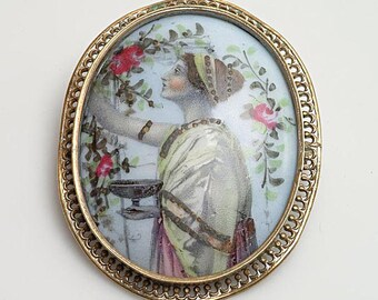 Antique Edwardian Portrait Brooch Greco Roman design Porcelain c.1900 Hand Painted over Lithographed Transfer Print Photo Prop