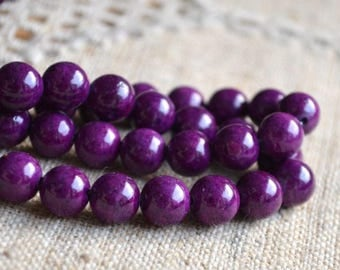 100pcs 8mm Riverstone Violet Natural Gemstone Beads Round 2x16 Inches Strand