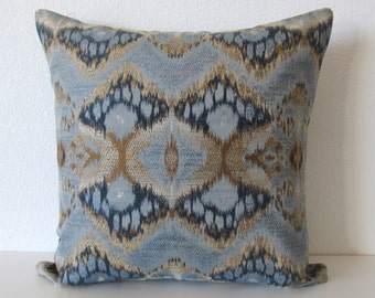 Rhythm Waves Ikat blue gold decorative pillow cover
