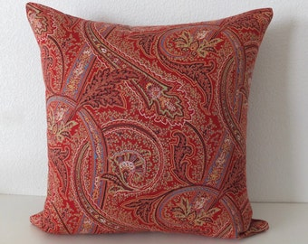 Red Paisley decorative Pillow Cover