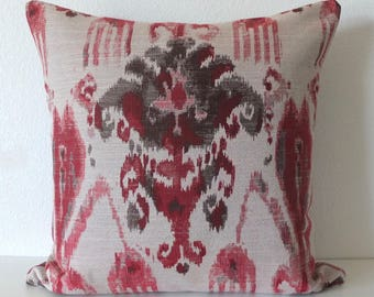 Red tones Ikat Pillow Cover