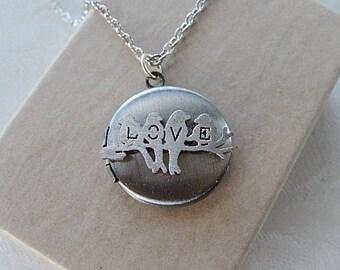 Love Locket,  Locket Necklace, Lovebirds, Gift for Her