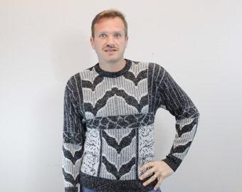 Vintage 80s Gray and Black Knit Sweater by JJ Cochran