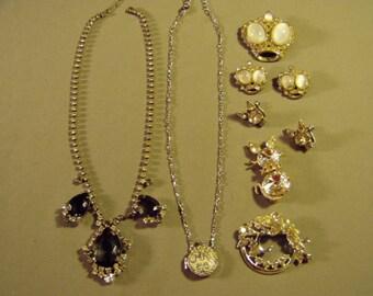 Vintage Lot Silver Tone Rhinestone Necklaces 2 Pin & Earrings Sets Wreath Pin Locket 9213