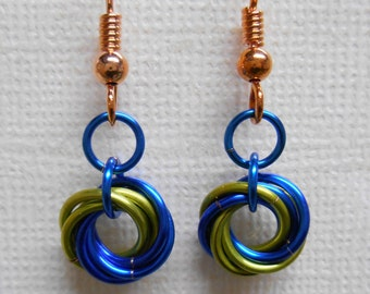 Light Green and Blue Mobius Chainmaille Dangle Earrings with 100% Copper French Ear Wires