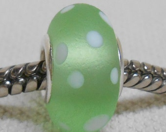 Large Hole Lampwork Bead Silver Cored European Charm Bead Light Green Snow Bead Etched