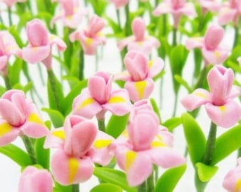 Iris Miniature Polymer Clay Flowers Supply 20 stems