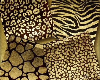 Gold Foil Animal Skin Coasters - 4 or 5 inch Handmade Bevelled Glass FOILZ Coasters - Leopard, Zebra, Giraffe, Cheetah Brown Foil  Skinz
