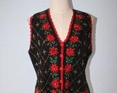 40% OFF SALE Vintage UGLY CHrisTmas Sweater Vest . Black Knit Vest Embroidered Poinsettias . Beads . Kitsch Loud . Size Medium
