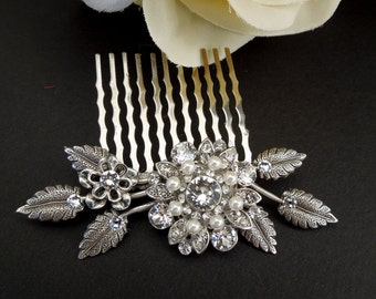 Bridal Pearl Swarovski Crystal Pearl Wedding Comb Wedding Hair Accessories Vintage Style Leaf Rhinestone Bridal Hair Comb Pearl COLLEEN