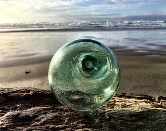 """Japanese Glass Fishing Float - 4"""" diameter, Light Green, Se Mark, Double Seal"""
