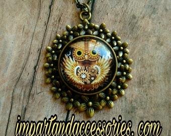 STEAMPUNK NIGHT OWL-25 mm Bronze Floral Glass Cab Cameo Pendant Necklace.