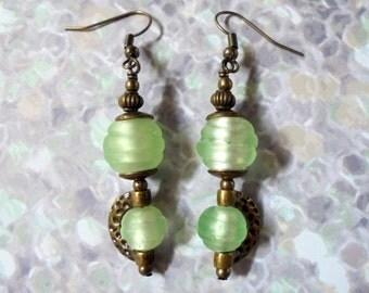 Seafoam Green and Brass Boho Earrings (3116)