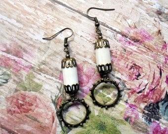 White and Brass Boho Earrings (3188)