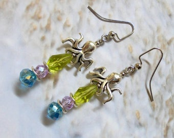 Lime Green, Aqua Blue, Lavender and Silver Octopus Earrings (3459)