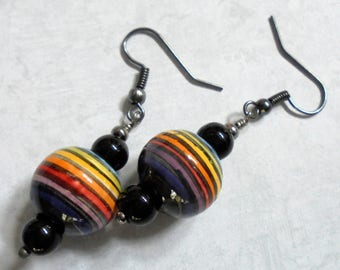 Rainbow Striped Boho Earrings (3568)