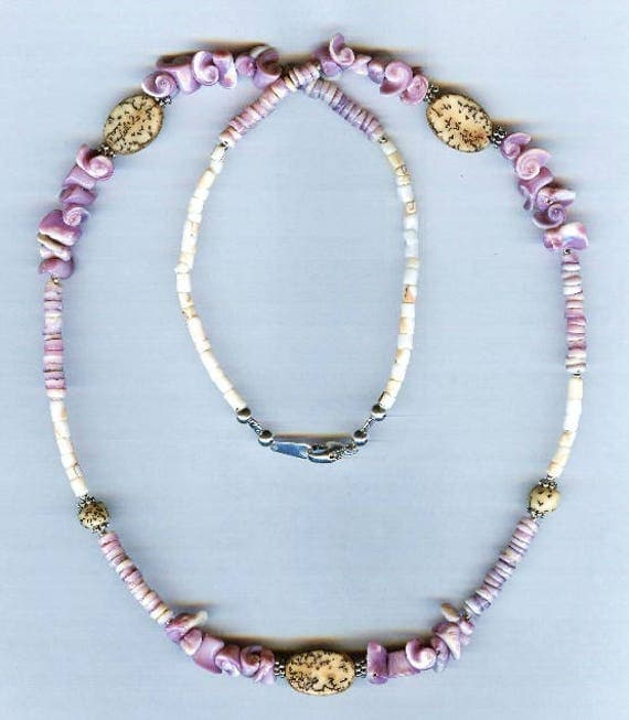 Hawaiian Theme Cebu Lavender & Pink Mosaic Shell Bead Necklace