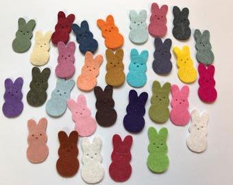 Wool Felt Die Cut Easter Bunnies 30 - 1-3/8 inch tall Random Colored. 3012 - Easter - Rabbit - Easter decor