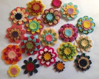 Wool Felt Mix & Match Flowers 80 total - Random Colored *Stock image 4014 - Kids Crafts - Headband - DIY - Daisy - Blossom - Crafting