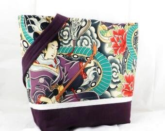 Shoulder Bag, Zen Charmer, Snake and Geisha, Alexander Henry, Medium Tote Bag, LibraryTote, Shoulder Bag, Handmade Large Purse