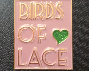 Birds of Lace enamel pin