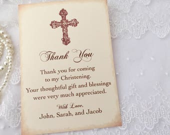Christening Thank You Cards Baptism First Communion Cross Cards Set of 10
