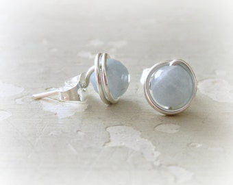 Aquamarine Earrings, Faceted Post Earrings, Natural Stone Posts, Aquamarine Studs, March Birthstone, Sterling Studs, Sterling Aquamarine