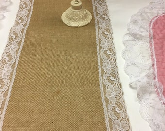 """12"""" Wide-Burlap Lace Runner-Choose your Length-Rustic-Lace-Burlap Runner--Wedding Reception tables-Fall or Christmas Decor"""