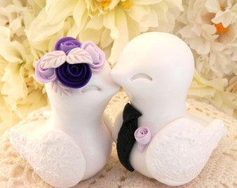 Love Birds Wedding Cake Topper, White, Purple Shades and Black, Bride and Groom Keepsake, Fully Customizable
