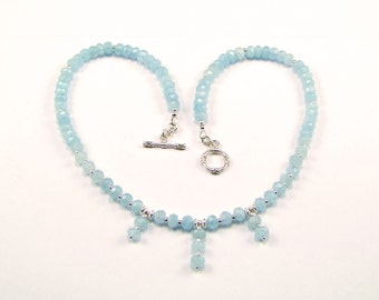 Faceted Aquamarine Sterling Silver Necklace - N883