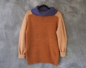 70s Bonnie Cashin Color Block Wool Mustard Turtleneck Mock Neck Raglan Sweater Ladies Size S/M